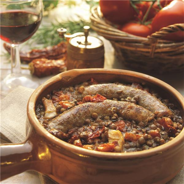 Duck Sausage with Lentils and Espelette chilli Pepper